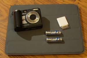 Nikon Coolpix, AA batteries,  iPad card reader, iPad