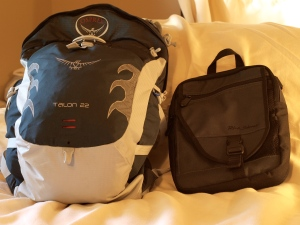 Pack and day bag that can hold iPad mini and DSLR