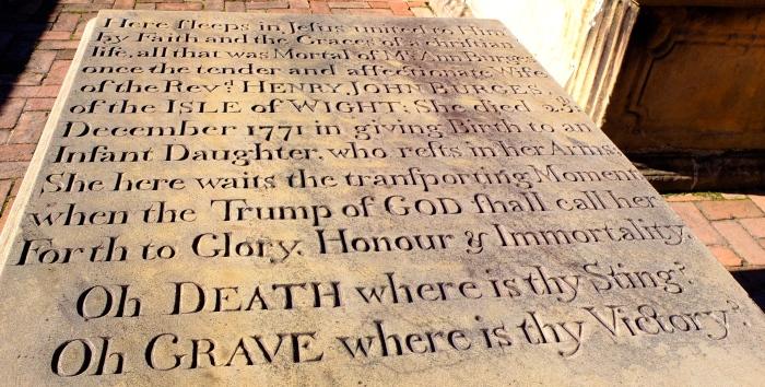 Burton Parish cemetery, she died giving birth Christmas day