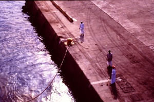 Pulling into Jiddah Saudi Arabia - USS Kalamazoo