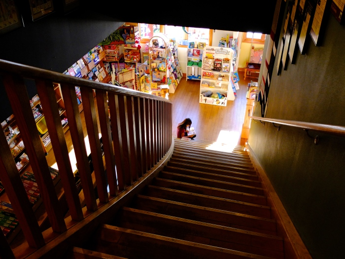 A young reader at Village Books - Bellingham WA