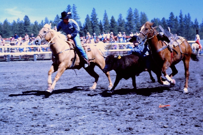An old slide of cowboys in 1985