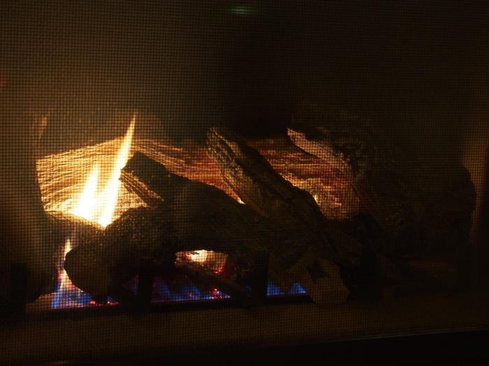 The corner fireplace at Starbucks