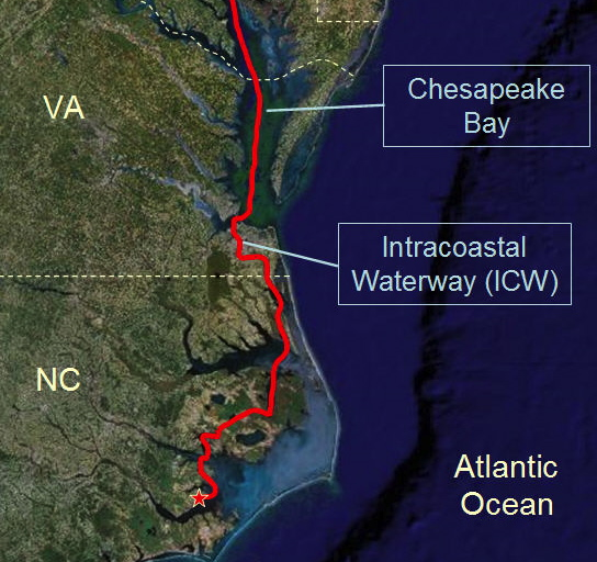 The Virginia/North Carolina section of the Intracoastal Waterway