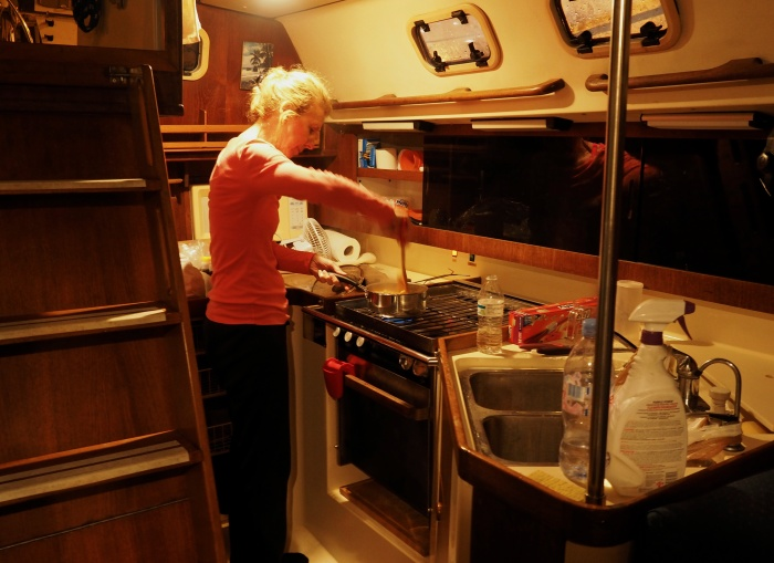 Susan making magic in the galley
