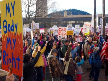 Reviewing chants before the start of the march.  Woman's March, Bellingham, Washington. January 21, 2017