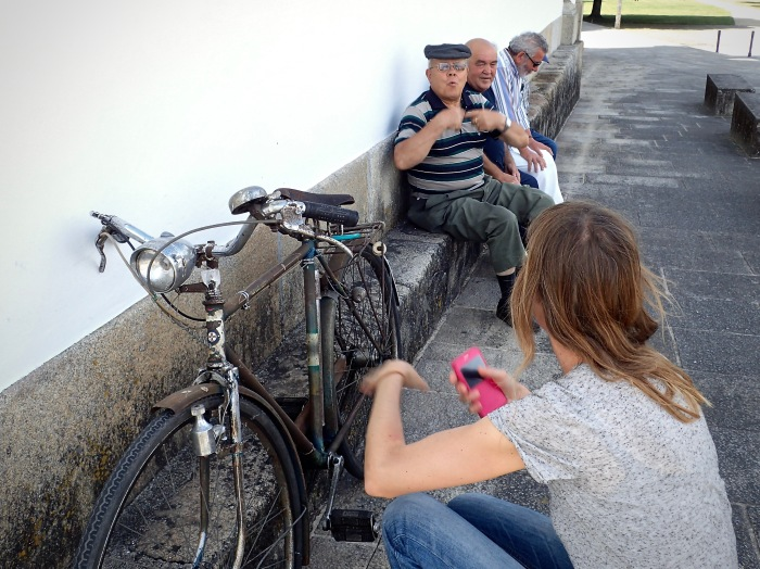 Lea collecting the story of the old bike.